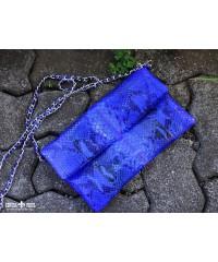 Клатч мини из кожи питона, синий