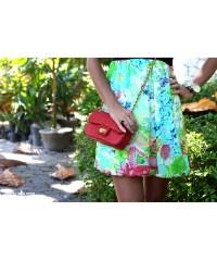 Сумочка в стиле Chanel из кожи питона, красная